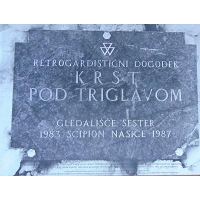 0259. Plakat NSK -  Retrogardistični dogodek  KRST POD TRIGLAVOM -  Gledališče Sester Scipion Nasice
