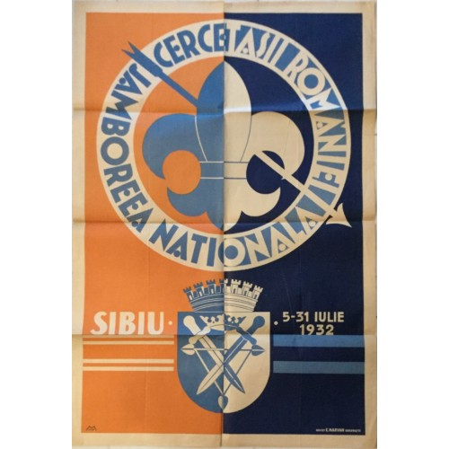 0221. Plakat Cercetasii Romaniei- Jamboreea Nationala, Sibiu Romaia,  1932.