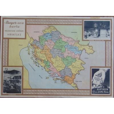 0255. Bayer-ova karta Nezavisne Države Hrvatske / Bayer - ov red nauka (raspored školskih sati)
