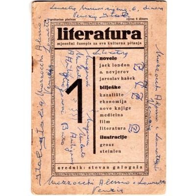 0013. Literatura – mjesečni časopis za sva kulturna pitanja (broj 1. godina 1.) – urednik Stevan Galogaža