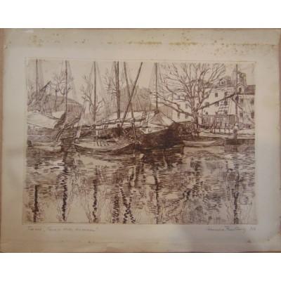 "0038. Grafika  - Rijeka Fiume ""Canale della Fiumara"" , Cornelio Zustovich de Giusti slikar i grafičar (Rijeka 1890-Venecija 1965). bakropis"